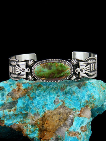 Navajo Indian Jewelry Sterling Silver Royston Turquoise Thunderbird Bracelet
