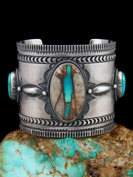 Navajo Sterling Silver Royston Ribbon Turquoise Cuff Bracelet