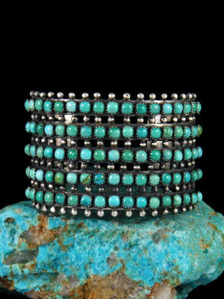 Native American Carico Turquoise Sterling Silver Cuff Bracelet