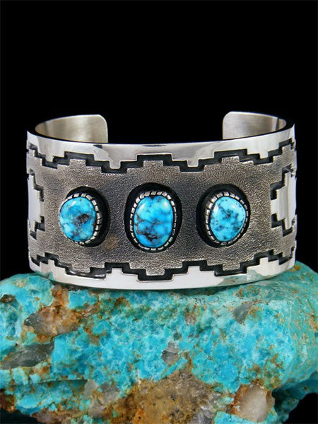 Native American Jewelry Sterling Silver Prince Turquoise Bracelet