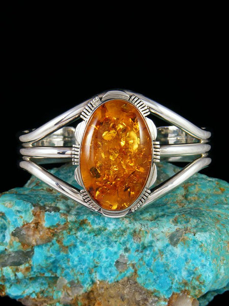 Native American Jewelry Sterling Silver Amber Cuff Bracelet