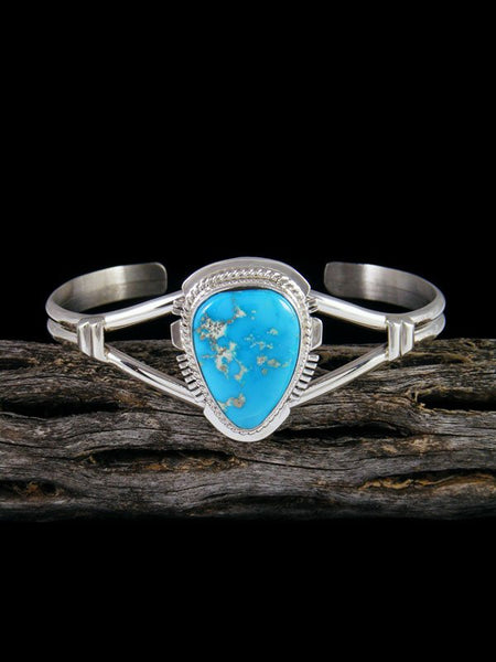 Navajo Blue Bird Turquoise Sterling Silver Cuff Bracelet