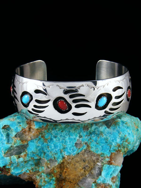 Coral and Turquoise Bear Paw Shadowbox Bracelet