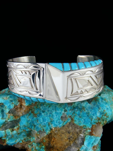 Sterling Silver Navajo Overlay Turquoise Cuff Bracelet