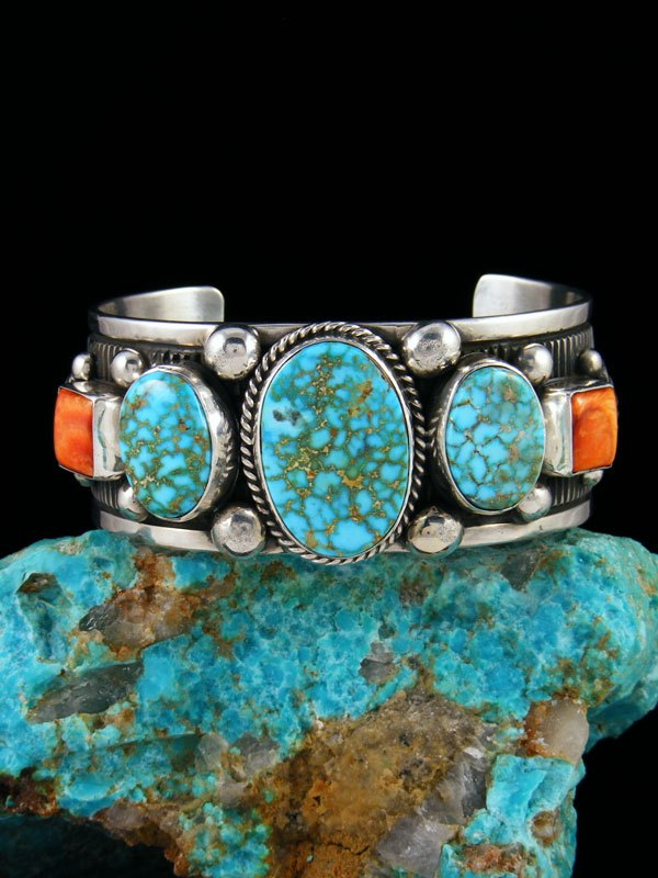 Native American Sterling Silver Spiny Oyster and Kingman Turquoise Cuff Bracelet