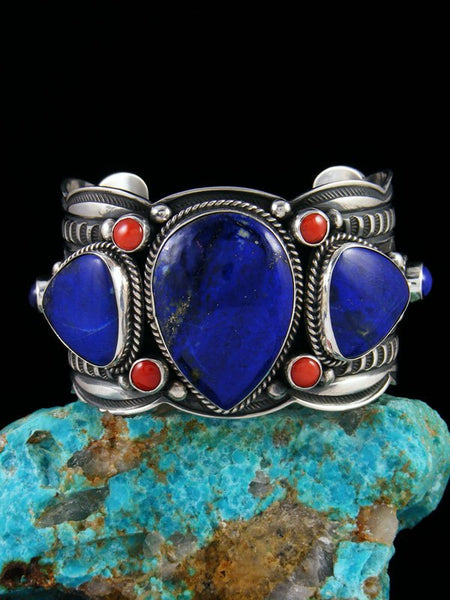 Native American Sterling Silver Lapis and Coral Bracelet