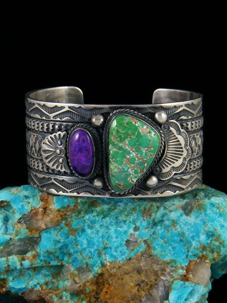 Native American Indian Jewelry Sterling Silver Carico Lake Turquoise and Sugilite Bracelet