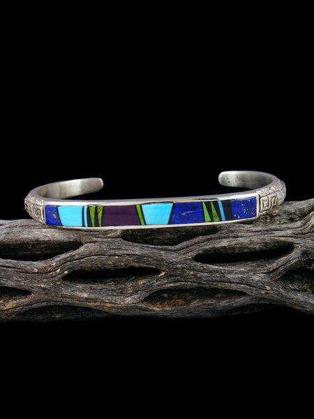 Native American Indian Lapis Multi-Stone Inlay Bracelet