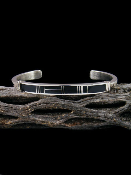 Native American Indian Onyx Inlay Bracelet