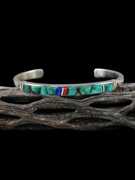 Native American Turquoise Cobblestone Inlay Bracelet