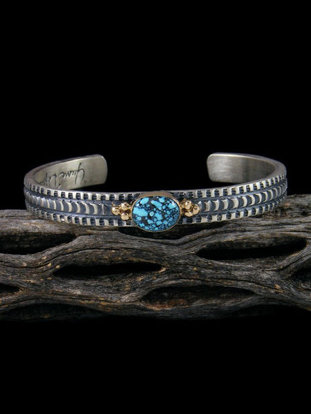Native American Kingman Blackweb Turquoise Silver and Gold Cuff Bracelet