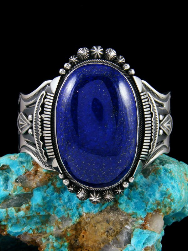 Native American Sterling Silver Lapis Cuff Bracelet