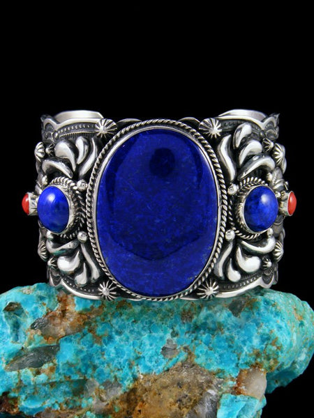 Native American Sterling Silver Lapis and Coral Cuff Bracelet