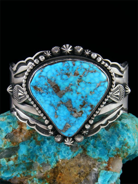 Native American Sterling Silver Kingman Turquoise Cuff Bracelet