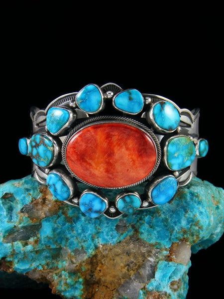 Native American Spiny Oyster and Kingman Turquoise Cuff Bracelet
