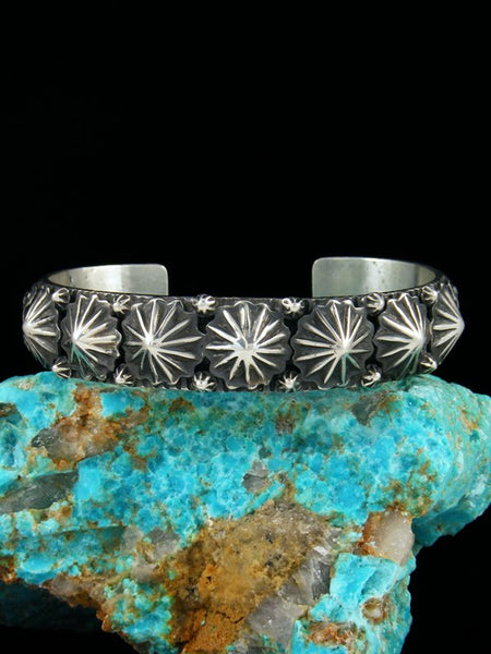 Native American Sterling Silver Star Burst Cuff Bracelet