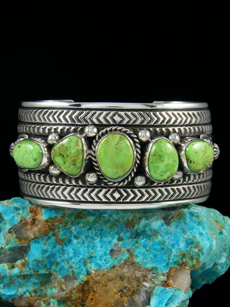 Native American Natural Green Gaspeite Cuff Bracelet