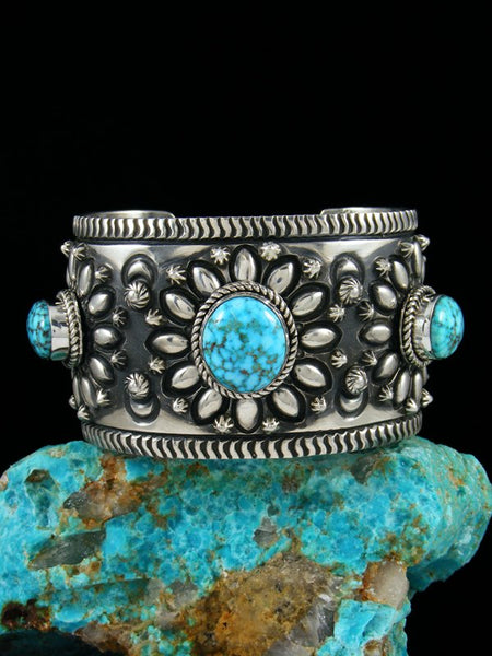 Native American Indian Sterling Silver Kingman Turquoise Bracelet