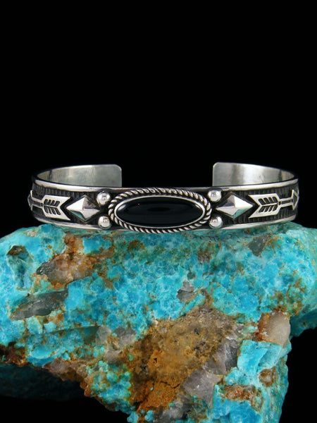 Native American Jewelry Sterling Silver Onyx Bracelet