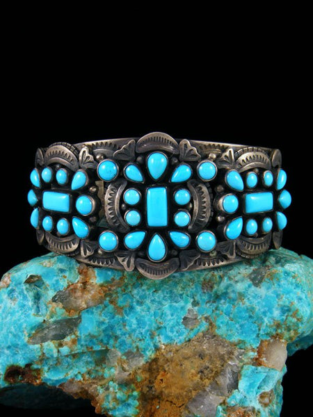Native American Vintage Sterling Silver Sleeping Beauty Turquoise Bracelet