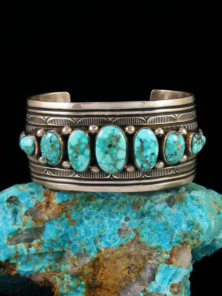 Native American Indian Sterling Silver Estate Kingman Turquoise Bracelet