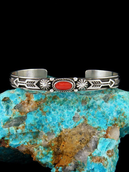 Native American Jewelry Sterling Silver Coral Bracelet