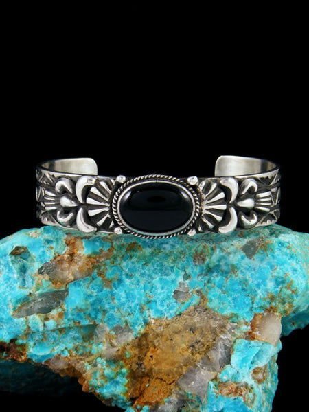 Native American Jewelry Black Onyx Cuff Bracelet