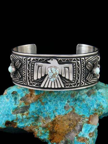 Native American Turquoise Sterling Silver Thunderbird Cuff Bracelet