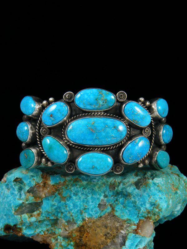 Native American Indian Jewelry Kingman Turquoise Bracelet