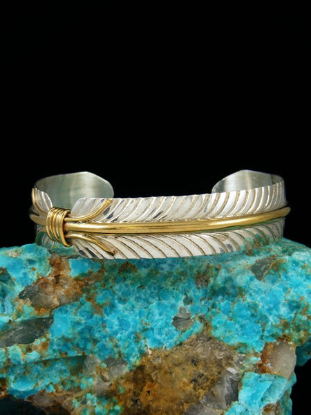 Navajo Sterling Silver and Gold Feather Bracelet