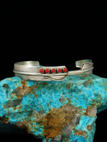 Navajo Sterling Silver and Coral Feather Bracelet