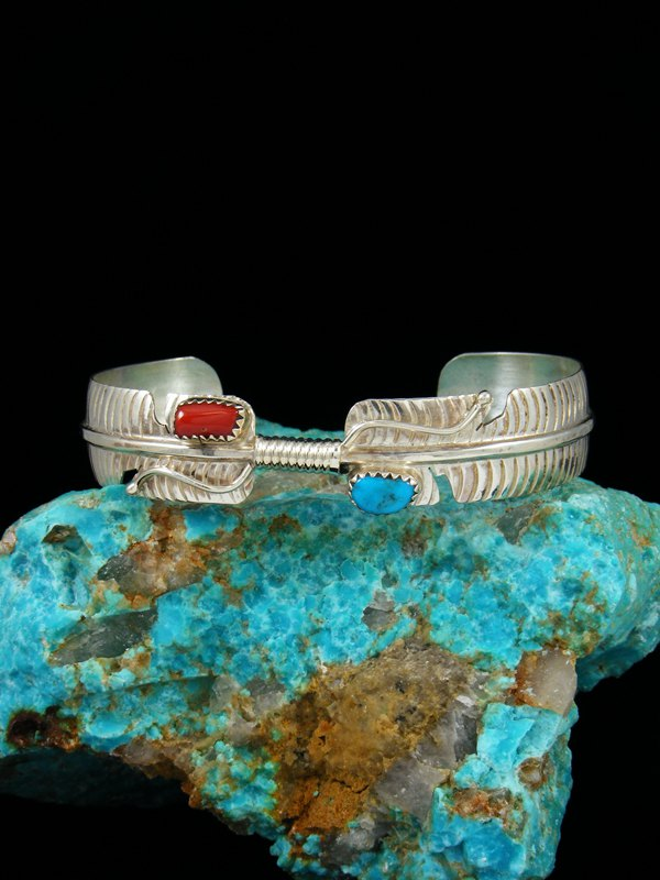 Navajo Sterling Silver Turquoise and Coral Feather Bracelet