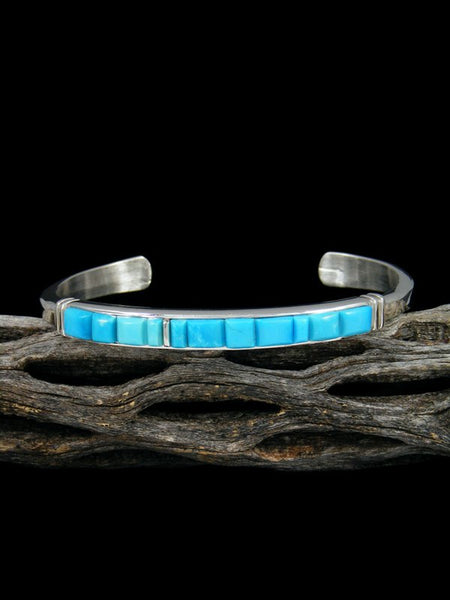 Native American Indian Sleeping Beauty Turquoise Inlay Bracelet