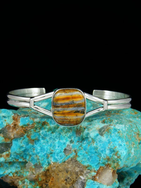 Native American Sterling Silver Fossilized Mammoth Tooth Cuff Bracelet
