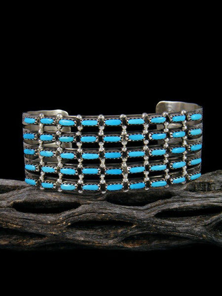 Sterling Silver Zuni Turquoise Inlay Row Bracelet