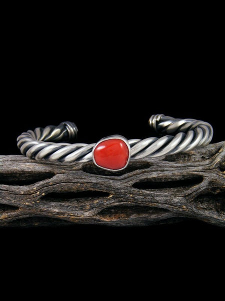 Native American Coral Twisted Sterling Silver Cuff Bracelet