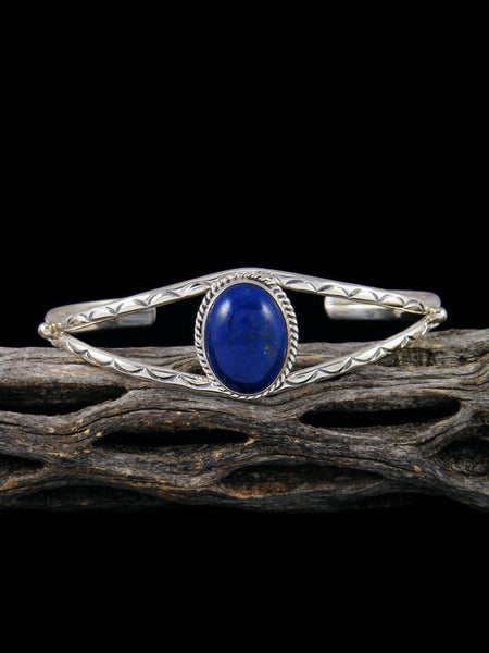 Navajo Sterling Silver and Lapis Cuff Bracelet