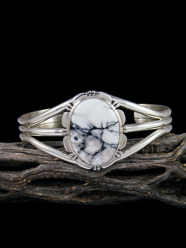 Native American Sterling Silver White Buffalo Cuff Bracelet