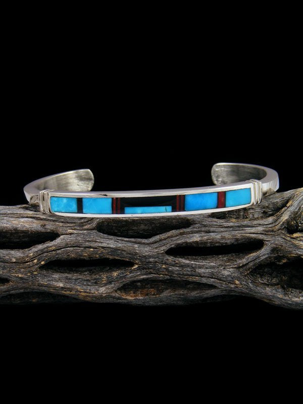 Native American Indian Onyx and Turquoise Inlay Bracelet