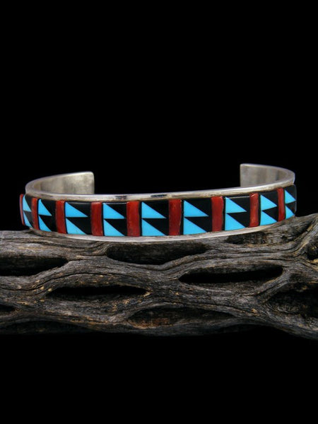 Native American Jewelry Zuni Turquoise and Coral Inlay Cuff Bracelet