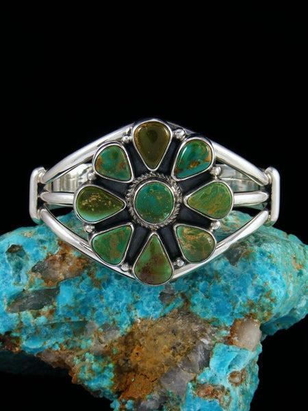 Navajo Royston Turquoise Cluster Sterling Silver Bracelet