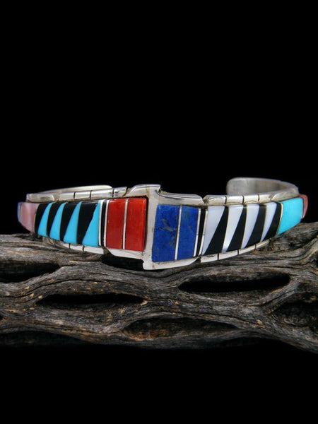 Native American Zuni Lapis and Coral Inlay Bracelet