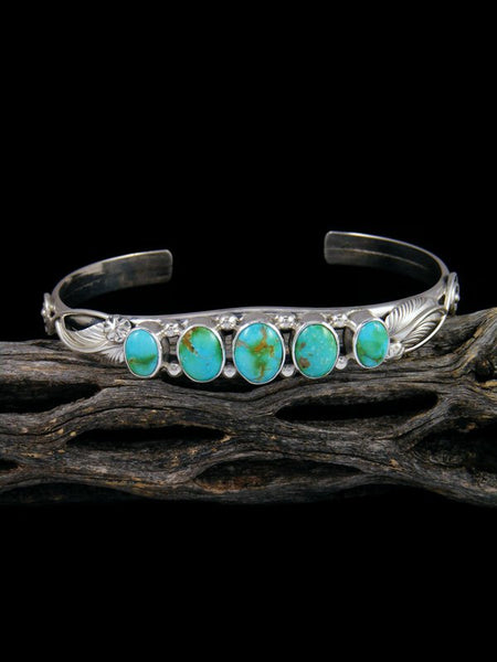 Native American Sonoran Gold Turquoise Sterling Silver Bracelet