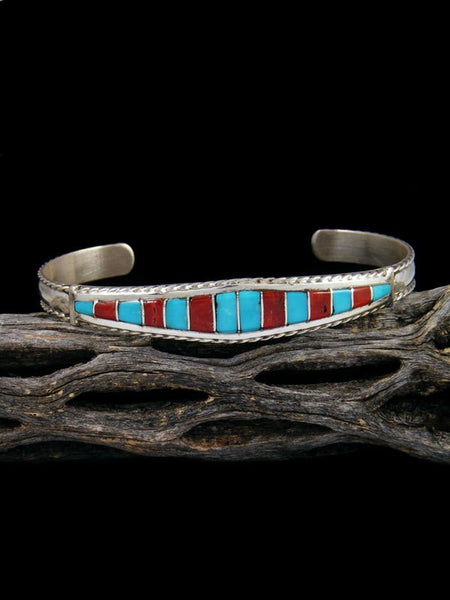 Sterling Silver Turquoise and Coral Zuni Inlay Bracelet