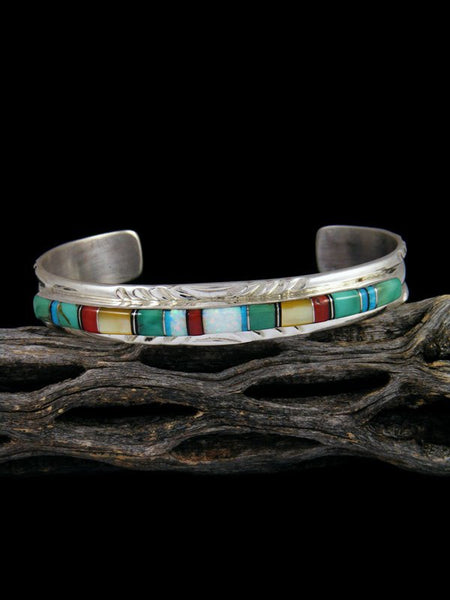 Native American Indian Inlay Turquoise and Mother of Pearl Bracelet