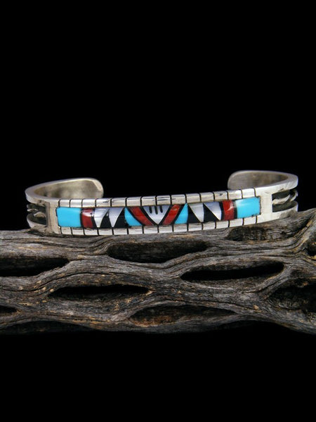 Native American Jewelry Zuni Inlay Turquoise and Coral Cuff Bracelet
