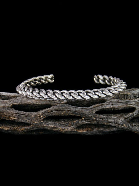Native American Braided Rope Sterling Silver Cuff Bracelet