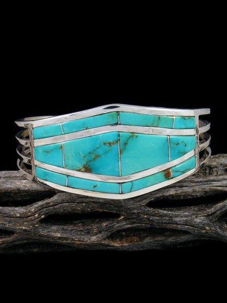 Native American Indian Zuni Inlay Turquoise Cuff Bracelet
