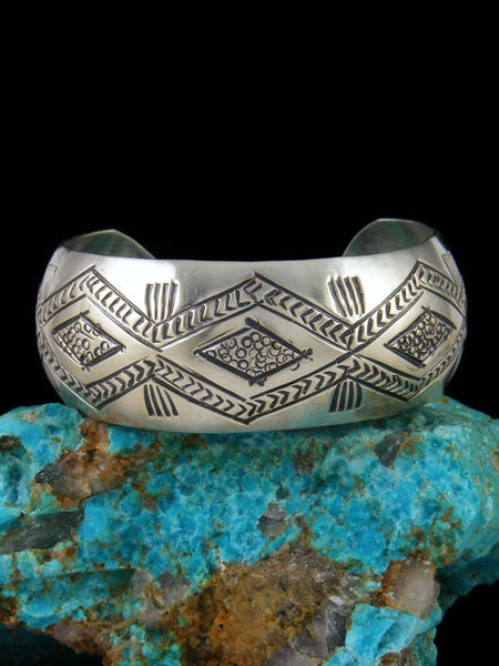 Native American Stamped Sterling Silver Cuff Bracelet