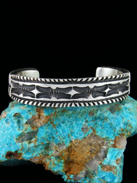 Large Native American Heavy Sterling Silver Cuff Bracelet